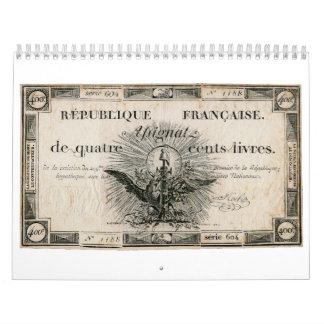 Billete de banco de Assignat de la Revolución Calendarios De Pared