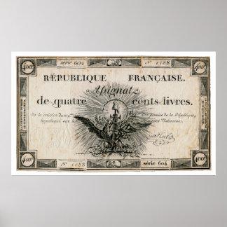 Billete de banco de Assignat de la Revolución Fran Impresiones