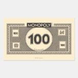 Billete de dólar 100 pegatina rectangular