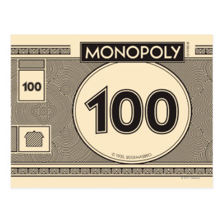 Billete de dólar 100 postal