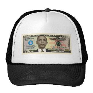 Billete de dólar 2012 de Obama Gorros