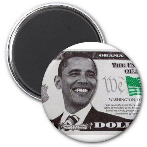 billete de dólar de obama 9 imán redondo 5 cm