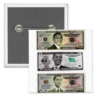 billete de dólar de obama 9 pin cuadrada 5 cm