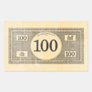 Billete de dólar del vintage 100 rectangular pegatina