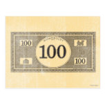 Billete de dólar del vintage 100 postal