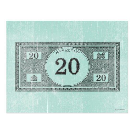 Billete de dólar del vintage 20 tarjeta postal