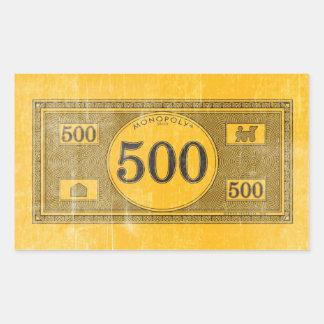 Billete de dólar del vintage 500 pegatina rectangular