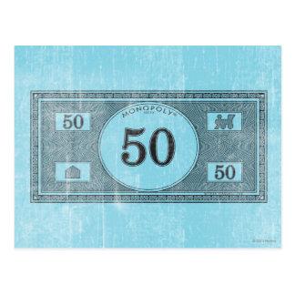 Billete de dólar del vintage 50 tarjeta postal
