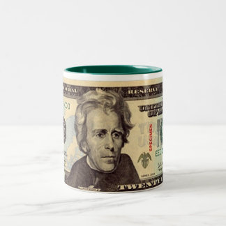 Billete de dólar veinte taza