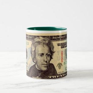 Billete de dólar veinte taza de café de dos colores