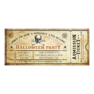 Billete de grupo del cráneo del vintage y de invitaciones personales