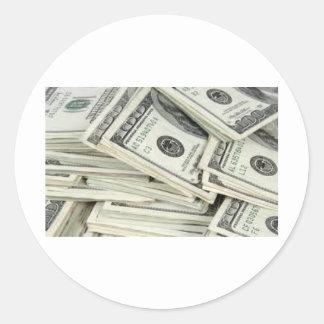 Billetes de dólar de un Hundered Pegatina Redonda