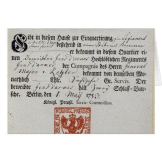 Billeting voucher, 1759 card