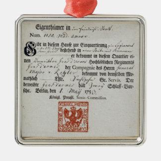 Billeting voucher, 1759 metal ornament