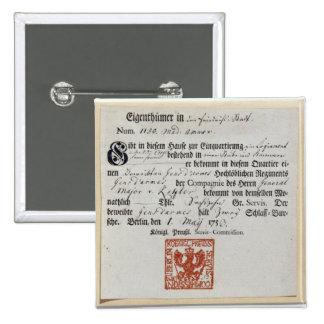 Billeting voucher, 1759 pinback button