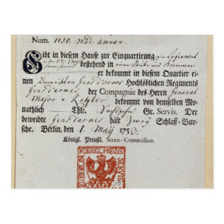 Billeting voucher, 1759 postcard