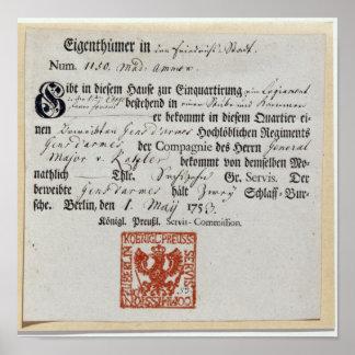 Billeting voucher, 1759 poster