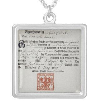 Billeting voucher, 1759 square pendant necklace