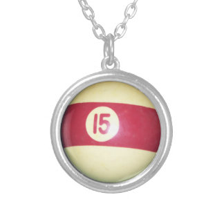 Billiard Ball #15 Silver Plated Necklace