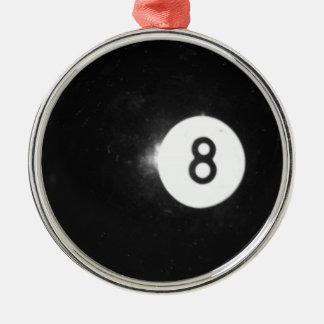Billiard Ball #8 Metal Ornament