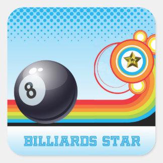 Billiard Ball and Rainbow Stripe BILLIARDS Star Square Sticker