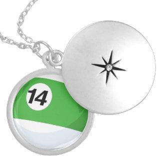 Billiard Ball No. 14 Striped Green Silver Plated Necklace