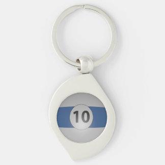 Billiard Ball Number 10 Silver-Colored Swirl Metal Keychain
