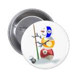 Billiard Ball Snowman Christmas Button