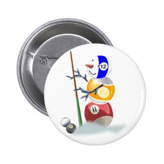 Billiard Ball Snowman Christmas Buttons