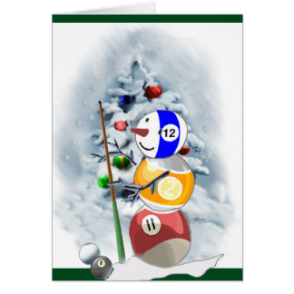Billiard Ball Snowman Christmas Card