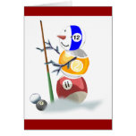 Billiard Ball Snowman Christmas Greeting Card