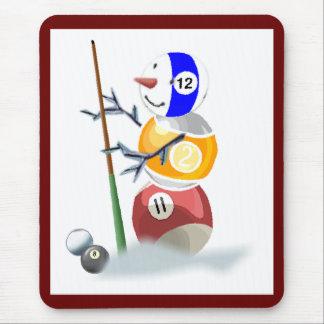 Billiard Ball Snowman Christmas Mouse Pad