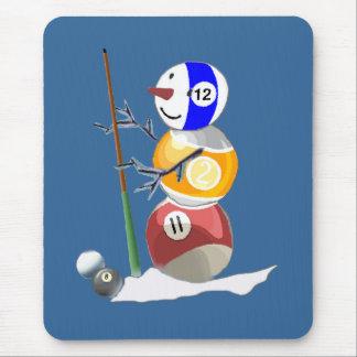 Billiard Ball Snowman Mouse Pad