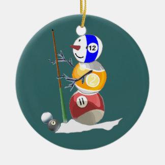 Billiard Ball Snowman Ornaments