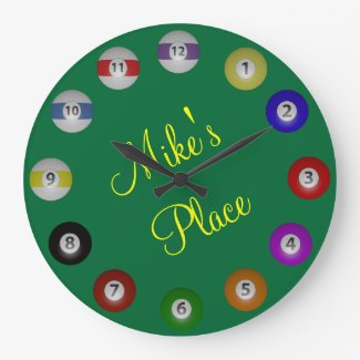 Billiard Ball with Name Large Clock