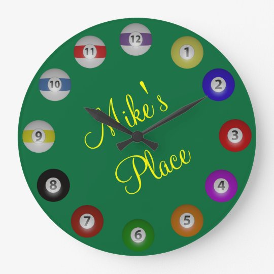 Billiard Ball With Name Text Large Clock Zazzle
