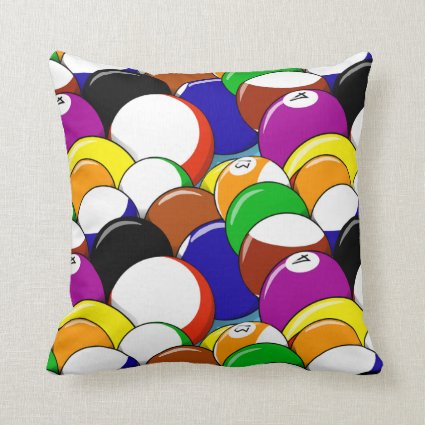 Billiard Balls Abstract Pattern Throw Pillow
