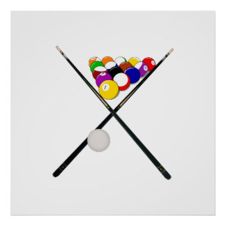 Billiard Balls and Pool Cues Poster