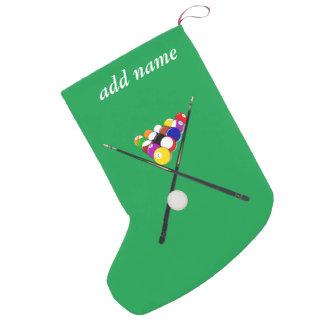 Billiard Balls and Pool Cues Small Christmas Stocking