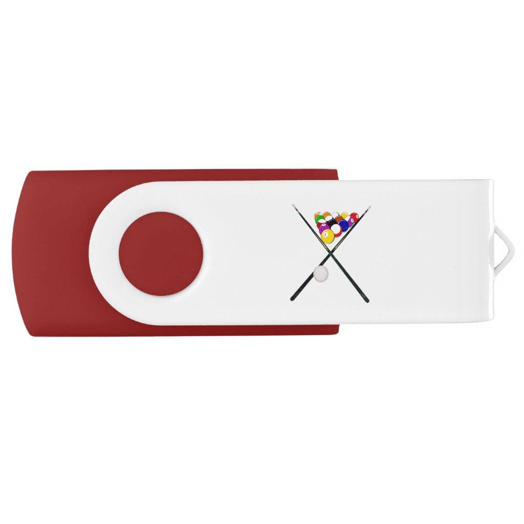 Billiard Balls and Pool Cues USB Flash Drive