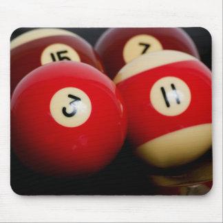 Billiard balls on black mouse pad