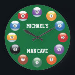 """Billiard Balls Personalized Wall Clock<br><div class=""""desc"""">Billiard Balls Personalized Wall Clock. A great way to bring pool into your everyday life is with our personalized billiard clock. This will add a nice touch to any pool room! Make any time will be pool time! Customize by adding your name, and change or keep the words man cave...</div>"""