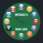 "Billiard Balls Personalized Wall Clock<br><div class=""desc"">Billiard Balls Personalized Wall Clock. A great way to bring pool into your everyday life is with our personalized billiard clock. This will add a nice touch to any pool room! Make any time will be pool time! Customize by adding your name, and change or keep the words man cave...</div>"