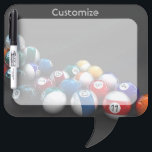 "Billiard Balls Pool Theme Dry Eraser Board<br><div class=""desc"">*Customize your board by adding text.</div>"