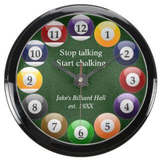 Billiard Balls Shiny Colorful Pool Snooker Sports Aquarium Clock