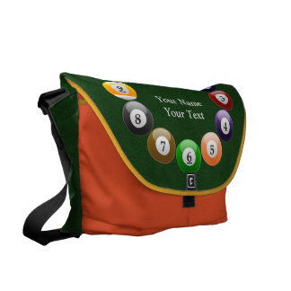 Billiard Balls Shiny Colorful Pool Snooker Sports Courier Bag