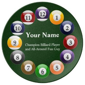Billiard Balls Shiny Colorful Pool Snooker Sports Plate