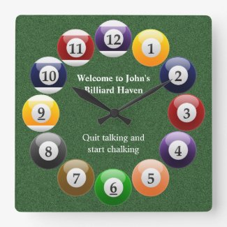 Billiard Balls Pool Square Wall Clock
