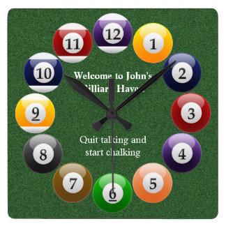 Billiard Balls Shiny Colorful Pool Snooker Sports Square Wall Clock