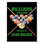 BILLIARD COLLEGE SCHOOL OF HARD BREAKS POSTCARD
